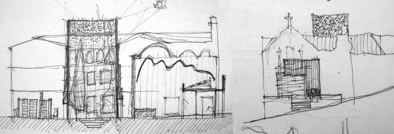 Boceto sección y alzado fachada