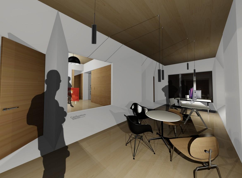 Vista interior del estudio / vivienda